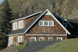 Columbia River Gorge Cottage with raw cedar shingles